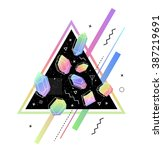 space triangle with crystals... | Shutterstock .eps vector #387219691
