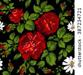 floral pattern with red roses.... | Shutterstock .eps vector #387234721