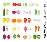 set of vegetables icons.... | Shutterstock .eps vector #387234814