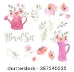 floral set of pink flowers...   Shutterstock . vector #387240235