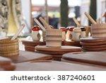 wooden kitchen utensils on the... | Shutterstock . vector #387240601