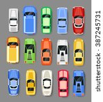 cars transport top view icon... | Shutterstock .eps vector #387245731