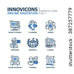 set of modern vector education... | Shutterstock .eps vector #387257779