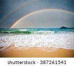 stormy sea and cloudy sky with... | Shutterstock . vector #387261541