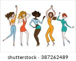 dancing girls. dance party. | Shutterstock .eps vector #387262489