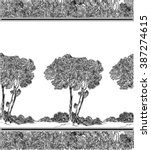 pattern with trees in toile de... | Shutterstock .eps vector #387274615