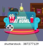 cool vector 'movie at home'... | Shutterstock .eps vector #387277129