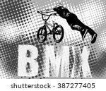 bmx stunt cyclist on the... | Shutterstock .eps vector #387277405