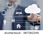 businessman touching a cloud... | Shutterstock . vector #387282244