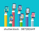 flat design mobile phone apps.... | Shutterstock .eps vector #387282649