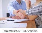 business people handshaking... | Shutterstock . vector #387292801