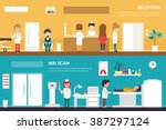 clinical reception and mri... | Shutterstock .eps vector #387297124