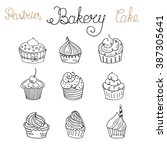set of hand drawn color cakes.... | Shutterstock .eps vector #387305641
