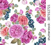 floral seamless pattern with... | Shutterstock . vector #387312721