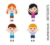 set of cute children on a white ... | Shutterstock .eps vector #387323071