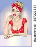 pin up housewife woman portrait ... | Shutterstock .eps vector #387323554