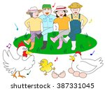 the poultry farming family who...   Shutterstock .eps vector #387331045