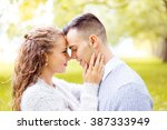 young couple walking  hyde park ... | Shutterstock . vector #387333949