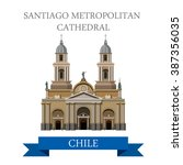 santiago metropolitan cathedral ... | Shutterstock .eps vector #387356035