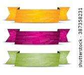 horizontal ribbon set with... | Shutterstock .eps vector #387358231