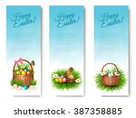 Three Happy Easter Banners Wit...