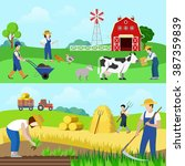 flat style set farm profession... | Shutterstock .eps vector #387359839