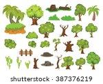 tree set vector cartoon   Shutterstock .eps vector #387376219