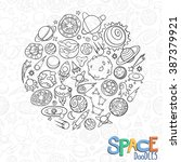 hand drawn doodles of planets... | Shutterstock .eps vector #387379921