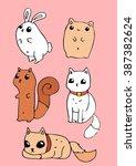 small animal cartoon vector... | Shutterstock .eps vector #387382624