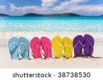 Beach Flip Flops In Rainbow...