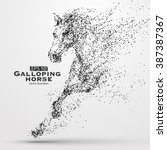 Stock vector galloping horse particles vector illustration 387387367