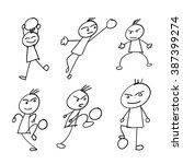 kids playing soccer doodles | Shutterstock .eps vector #387399274