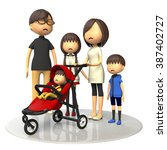 family and baby buggy | Shutterstock . vector #387402727