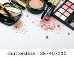 pink collection of makeup... | Shutterstock . vector #387407515
