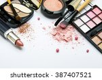 pink collection of makeup... | Shutterstock . vector #387407521