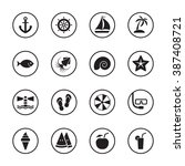 black flat summer icon set with ...