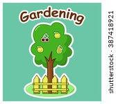 garden tree with apples pear... | Shutterstock . vector #387418921