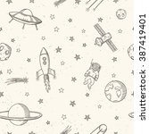 hand drawn astronomy doodle... | Shutterstock .eps vector #387419401