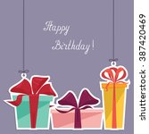 happy birthday postcard with... | Shutterstock .eps vector #387420469