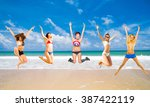jumping wild under the sun  | Shutterstock . vector #387422119