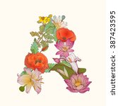 alphabet of flowers. floral... | Shutterstock .eps vector #387423595