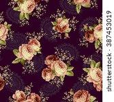 rose flower pattern | Shutterstock .eps vector #387453019