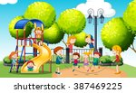 Children playing in the public park illustration | Shutterstock vector #387469225