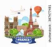 paris france vector travel... | Shutterstock .eps vector #387477481