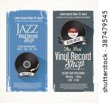 vinyl record shop retro grunge... | Shutterstock .eps vector #387479545