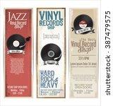 vinyl record shop retro grunge... | Shutterstock .eps vector #387479575