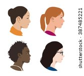 various races women profile... | Shutterstock .eps vector #387485221