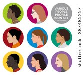 various races women profile... | Shutterstock .eps vector #387485257