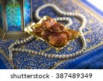 close up of dates with islamic... | Shutterstock . vector #387489349