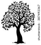 silhouette of leafy tree theme... | Shutterstock .eps vector #387492367